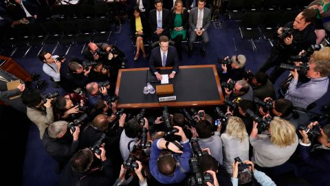 Facebook CEO Mark Zuckerberg arrives to testify before a joint hearing of the Commerce and Judiciary Committees on Capitol Hill in Washington, Tuesday, April 10, 2018, about the use of Facebook data to target American voters in the 2016 election. (AP Photo/Pablo Martinez Monsivais)