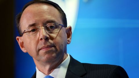 WASHINGTON, DC - FEBRUARY 26:  Deputy Attorney General Rod Rosenstein speaks at the Financial Services Roundtable 2018 Spring Conference February 26, 2018 in Washington, DC. Rosenstein answered questions on issues related to the financial services industry during his appearance.  (Photo by Win McNamee/Getty Images)