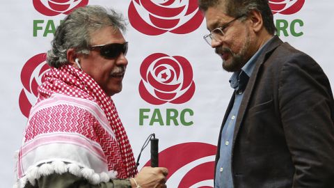 'Jesus Santrich' (L) and fellow FARC commander Ivan Marquez after the former guerrilla group registered as a political party in 2017.