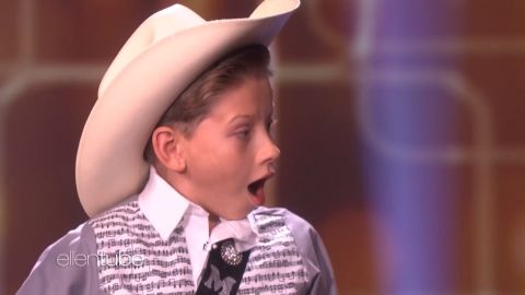 """title: Kid Yodeler Mason Ramsey Performs  duration: 00:05:41  site: Youtube  author: null  published: Tue Apr 10 2018 09:00:00 GMT-0400 (Eastern Daylight Time)  intervention: no  description: Ellen welcomed 11-year-old Mason Ramsey, whose video went viral after performing an amazing cover of Hank Williams Sr.'s """"Lovesick Blues"""" at a Walmart. Mason took the stage with the classic track, and Ellen had two big surprises for him!"""