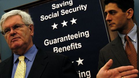 """Former House Speaker Newt Gingrich and Ryan speak about Ryan's bill, the """"Social Security Personal Savings Guarantee and Prosperity Act of 2004."""""""