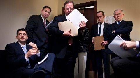 Ryan meets in 2012 with fellow Republicans -- Rep. Frank Guinta, Rep. Bill Flores, staffer Stephen Miller and Sen. Jeff Sessions -- before unveiling the coming year's budget plan.