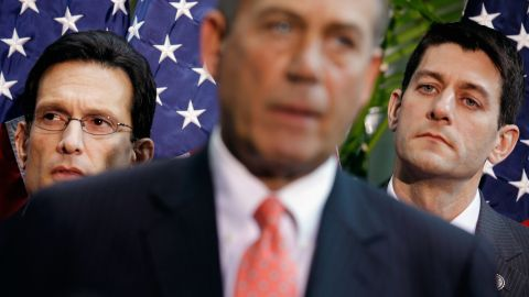 House Majority Leader Eric Cantor and Ryan listen in 2012 as House Speaker John Boehner speaks during a news conference.