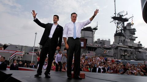 Ryan and Romney wave to the crowd after announcing Ryan as the Republican Party's vice presidential candidate in 2012.