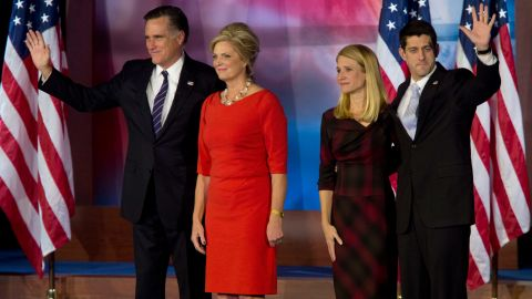 Romney, with his wife Ann, and Ryan, with his wife Janna, wave to the crowd following Romney's 2012 concession speech.