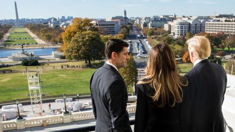 Ryan shows President-elect Donald Trump and his wife, Melania, the Speaker's Balcony at the US Capitol on November 10, 2016, days after Trump was elected.