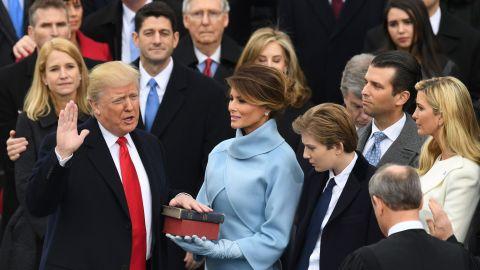 Ryan watches in 2017 as Trump is sworn in.