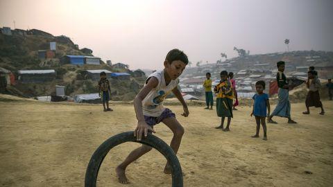 Rohingya refugee children play in Balukhali camp on January 14, 2018 in Cox's Bazar, Bangladesh.