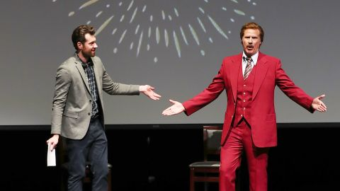 """Billy Eichner and Ron Burgundy (Will Ferrell) """"Glam Up The Midterms"""" at Oceanside High School Performing Arts Center, a conversation about the upcoming primary in CA-49 as part of Funny Or Die and Billy Eichner's """"Glam Up The Midterms"""" non-partisan campaign to encourage and energize young people to vote on April 12, 2018 in Oceanside, California."""