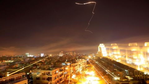 Damascus is seen as the U.S. launches an attack on Syria targeting different parts of the capital early Saturday, April 14, 2018.