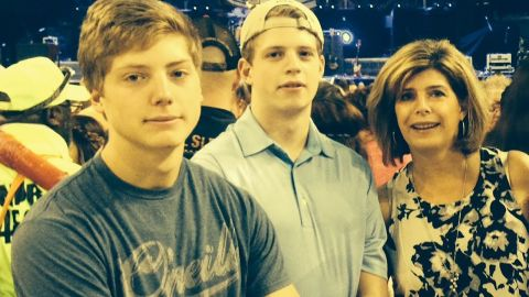 Jack and Nick Savage pictured with their mom, Becky.