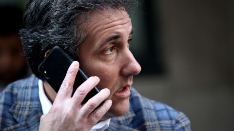 Michael Cohen, U.S. President Donald Trump's personal attorney, takes a phone call as he sits outside near the Loews Regency hotel on Park Ave on April 13, 2018 in New York City. (Yana Paskova/Getty Images)