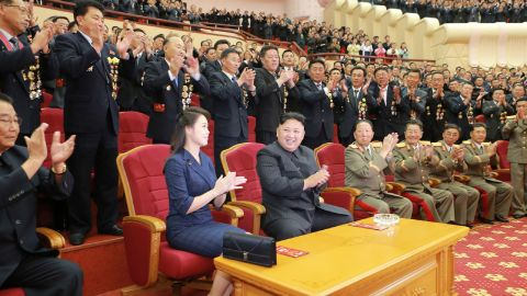 This photo from North Korean state media shows Kim and Ri attending an art performance in September 2017 dedicated to nuclear scientists and technicians, who worked on a hydrogen bomb which the regime claimed to have successfully tested, at the People's Theater in Pyongyang.