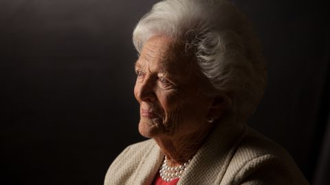 """<a href=""""https://www.cnn.com/2018/04/17/politics/barbara-bush-dies/index.html"""" target=""""_blank"""">Barbara Bush</a>, the matriarch of a Republican political dynasty and a first lady who elevated the cause of literacy, died April 17, according to a statement from her husband's office. She was 92."""