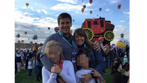 Jennifer Riordan, seen here with her husband Michael and their two children, has been identified as the victim in Tuesday's deadly incident aboard Southwest Airlines Flight #1380.
