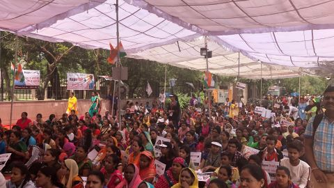 Hundreds of supporters attend a rally at the site of Maliwal's hunger strike and her call for stricter laws against rapists.