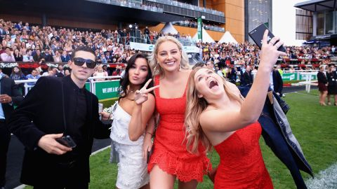 SYDNEY, AUSTRALIA - OCTOBER 14:  Racegoers party during a Jason Derulo concert after The Everest Day at Royal Randwick Racecourse on October 14, 2017 in Sydney, Australia.  (Photo by Mark Evans/Getty Images)