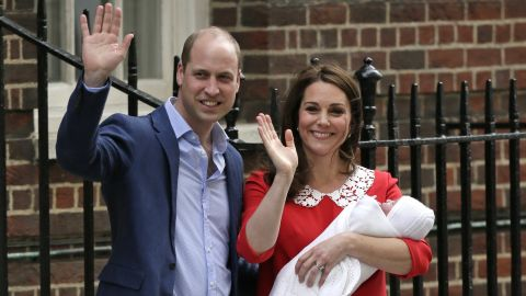 """Britain's Prince William and his wife Catherine, the Duchess of Cambridge, hold <a href=""""https://edition.cnn.com/interactive/2018/04/world/royal-baby-cnnphotos/index.html"""" target=""""_blank"""">their newborn baby son</a> outside a London hospital on April 23, 2018. The boy, whose name was announced several days later as Louis Arthur Charles, is their third child."""