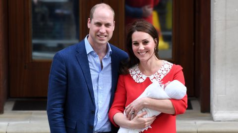 Catherine, Duchess of Cambridge and Prince William, Duke of Cambridge depart the Lindo Wing with their newborn son.