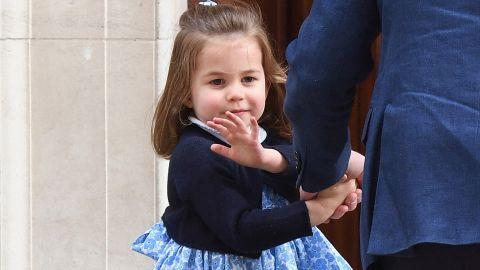 Princess Charlotte visits her newborn brother.