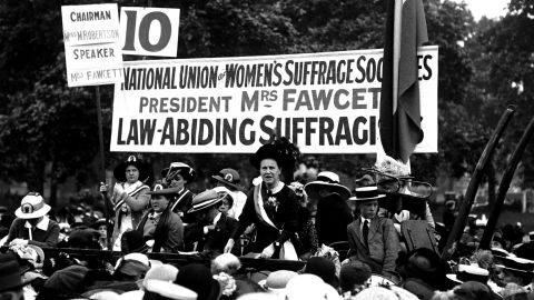 Millicent Fawcett, who founded the National Union of Women's Suffrage, speaks in Hyde Park.