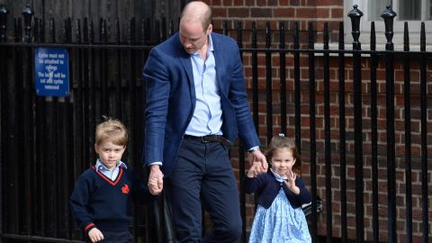Prince George and Princess Charlotte arrive at St. Mary's Hospital in London with their father, the Duke of Cambridge, to meet the newborn Prince Louis in April.