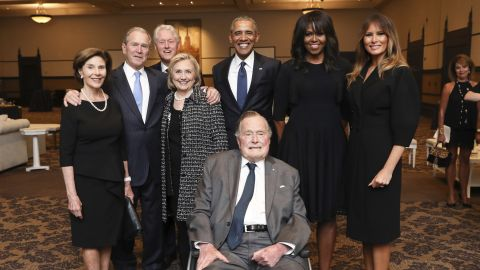 Former presidents and first ladies, including Bill and Hillary Clinton and Barack and Michelle Obama, as well as current first lady Melania Trump, join George H.W. Bush, George W. Bush and Laura Bush at the funeral ceremony for the late first lady Barbara Bush on April 21, 2018.