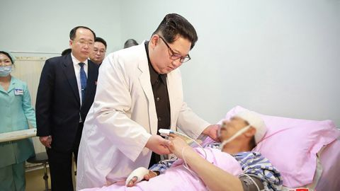 North Korean dictator Kim Jong Un pays a hospital visit to two Chinese tourists who survived the crash.