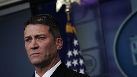 Ronny Jackson listens during the daily White House press briefing at the James Brady Press Briefing Room of the White House January 16, 2018.