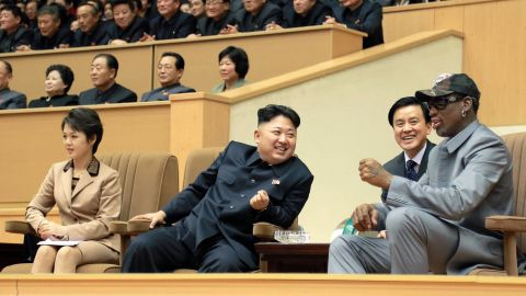 Ri and Kim sit alongside former US NBA star Dennis Rodman as they watch an exhibition match between US and North Korean basketball players in Pyongyang on January 8, 2014. Rodman later revealed the name of the couple's daughter, Ju Ae.