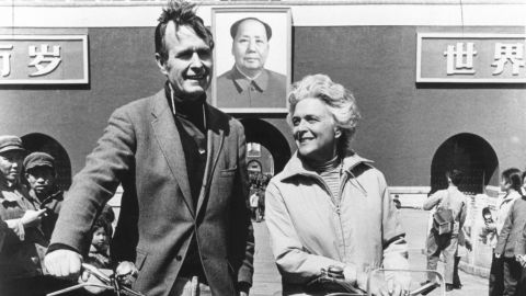 George Herbert Walker Bush poses with his wife Barbara in Beijing in 1974.  Born 12 June 1924 in Milton, Massachussetts, George Bush Yale graduated with a degree in Economics in 1948, made a fortune drilling oil before entering politics in 1964. US Congressman from Texas (1966-1970), ambassador to the United nations (1971-1974), Special Envoy to China (1974-1975), Republican National Chairman (1975-1976), Central Intelligence Agency (CIA) director (1976-1977), vice president of the US (1981-1959) George Bush is eventually elected president of the US 08 November 1988 against Democratic nominee Michael Dukakis.  AFP PHOTO/WHITE HOUSE        (Photo credit should read /AFP/Getty Images)