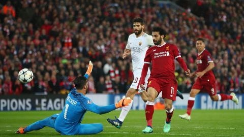 Salah scoring with an exquisite chip against Roma.