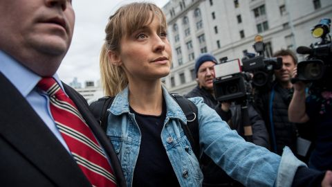Actress Allison Mack leaves U.S. District Court for the Eastern District of New York after a bail hearing last April