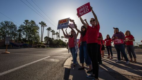 Arizona teachers protest for higher pay and more funding of schools.