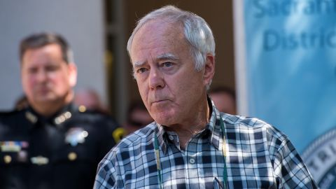Bruce Harrington, whose brother Keith Harrington and his wife, Patty, were viticms of the Golden State Killer, speak to the media after Sheriff Scott Jones and Sacramento District Attorney Anne Marie Schubert announce the apprehension of 72-year-old Joseph James DeAngelo as the suspect, on Wednesday, April 25, 2018, in Sacramento, Calif.  (Paul Kitagaki Jr./Sacramento Bee/TNS via Getty Images)