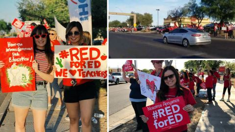 Images from the Baseline Road rally, where teachers and allies aimed to line up for 45 miles.