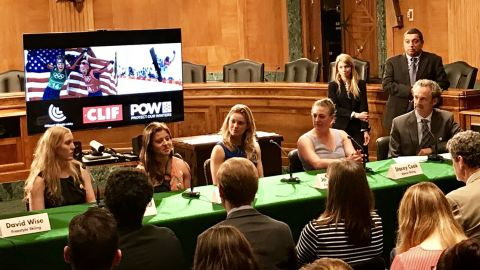 Olympic gold medalists highlight the dangers climate change brings to winter sports, as they urge Congress to take action.