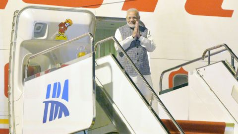 Indian Prime Minister Narendra Modi exits his plane after arriving in Wuhan in China's Hubei province on April 27.