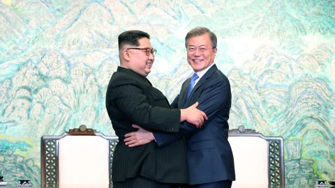 North Korean leader Kim Jong Un and South Korean President Moon Jae-in  embrace at a summit in South Korea in April.