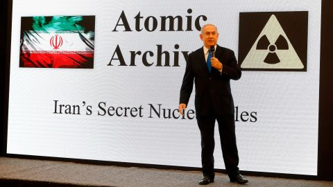 """Israeli Prime Minister Benjamin Netanyahu delivers a speech on Iran's nuclear program at the defence ministry in Tel Aviv on April 30, 2018. - Netanyahu said that he had proof of a """"secret"""" Iranian nuclear weapons programme, as the White House considers whether to pull out of a landmark atomic accord that Israel opposes. (Photo by Jack GUEZ / AFP)        (Photo credit should read JACK GUEZ/AFP/Getty Images)"""