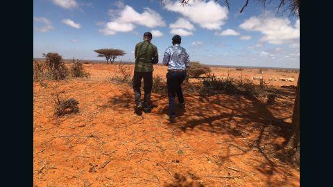 John Horgan, left, and Iftiin Foundation Director Mohamed Ali visit an area outside Kismayo, Somalia.