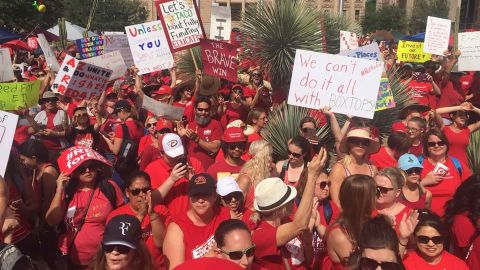 Arizona's public school teachers and their supporters marched on the state Capitol in Phoenix Monday.