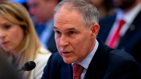 EPA Administrator Scott Pruitt testifies before the House Appropriations Committee during a hearing on the 2019 Fiscal Year EPA budget at the Capitol on April 26, 2018 in Washington, DC. (Alex Edelman/Getty Images)