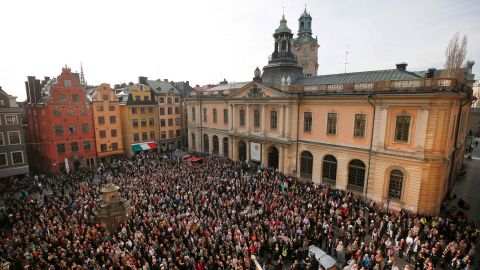 People gather outside the Swedish Academy in Stockholm to show their support for former Permanent Secretary Sara Danius on April 19, 2018.