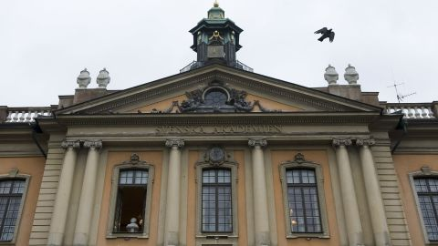 """A bird flies from the rooftop of the Royal Swedish Academy on October 7, 2010. Peruvian-Spanish author Mario Vargas Llosa won the 2010 Nobel Literature Prize on Thursday, the Swedish Academy said.    The 74-year-old author, a one-time presidential candidate, is best known for works such as """"Conversation in the Cathedral"""" and """"The Feast of the Goat"""" but is also a prolific journalist.  AFP PHOTO / JONATHAN NACKSTRAND (Photo credit should read JONATHAN NACKSTRAND/AFP/Getty Images)"""