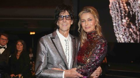 """Ric Ocasek of the Cars and Paulina Porizkova attend the Rock & Roll Hall of Fame induction ceremony in Cleveland in April 2018. A few weeks later Porizkova <a href=""""https://www.instagram.com/p/BiR_9hZjNMp/?taken-by=paulinaporizkov"""" target=""""_blank"""" target=""""_blank"""">announced on Instagram that the couple have been separated for a year. </a>"""