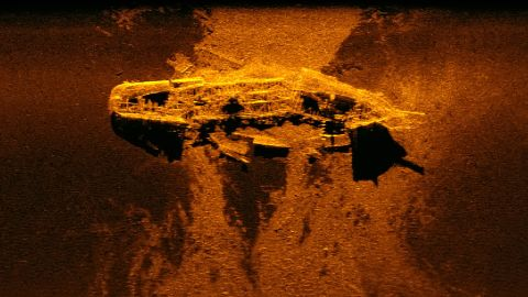 Sonar image of the large iron wreck found during the search for Malaysia Airlines Flight MH370