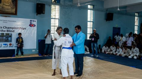 She was introduced to the sport as part of a self-defense class to help protect blind women against physical or sexual abuse.