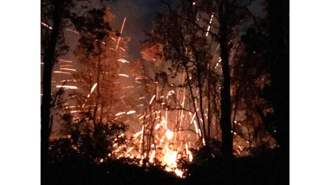 A photo provided by Shane Turpin shows the results of the Kilauea volcano's eruption early Friday.