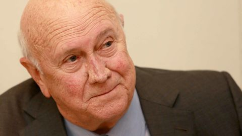 Former South African president and Nobel Peace prize laurate F. W. de Klerk delivers a speech during the F. W. de Klerk Foundation Conference, on February 2, 2015, in Cape Town, South Africa. (Photo credit:NARDUS ENGELBRECHT/AFP/Getty Images)